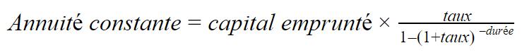 formule calcul annuité