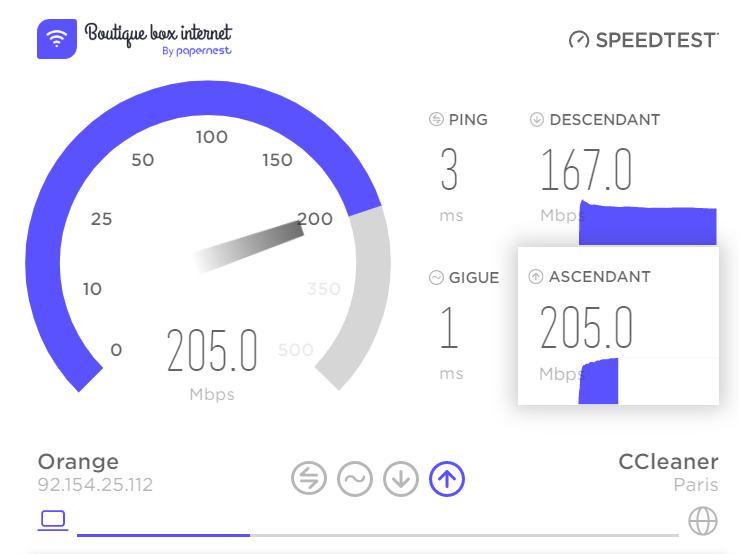 test débit internet fibre
