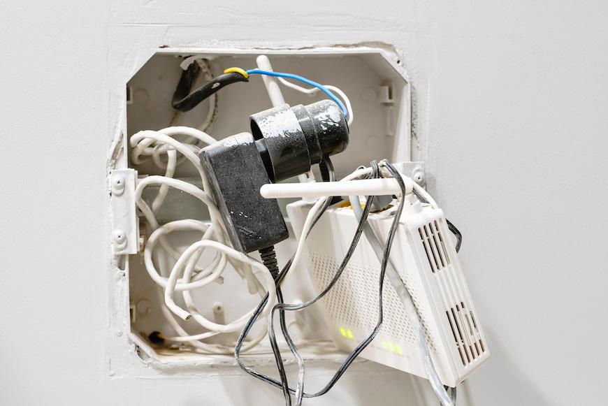 Broadband box on wall