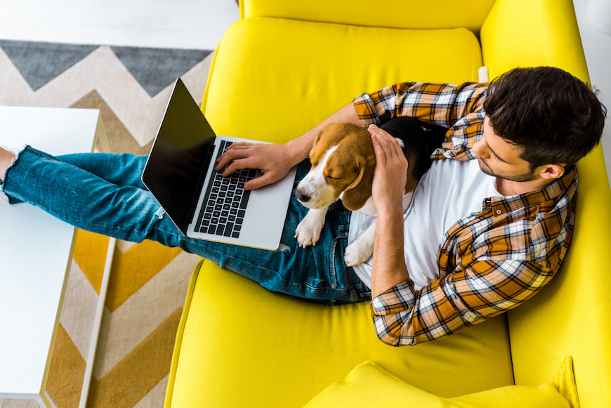 Man sitting on the couch with his dog while working on his laptop