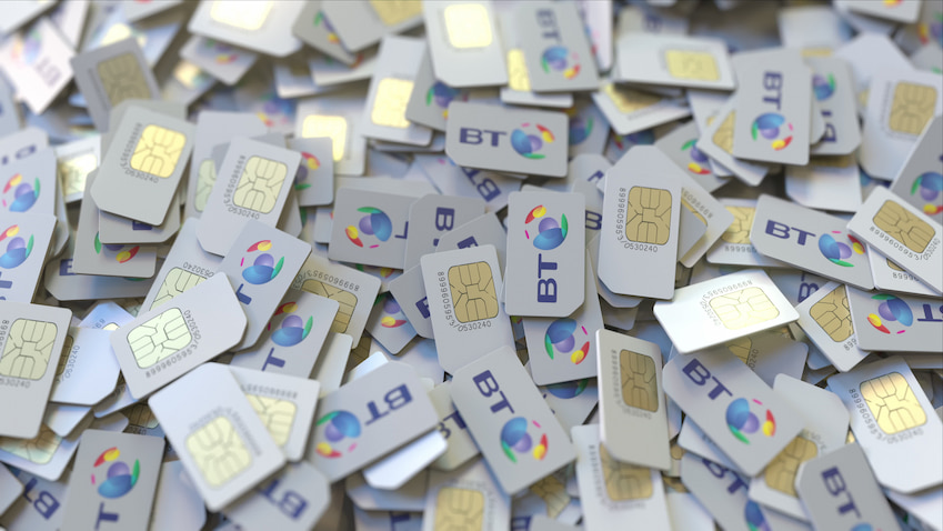 Pile of SIM Cards with BT Logo on them