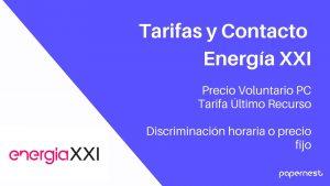 Tarifas y teléfono Energia XXI